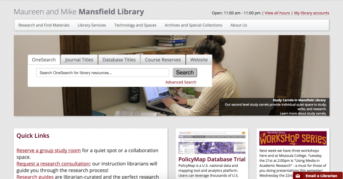 screenshot of Mansfield Library homepage at the University of Montana. This is an older screenshot from spring semester 2017 using the Internet Archive's Wayback Machine