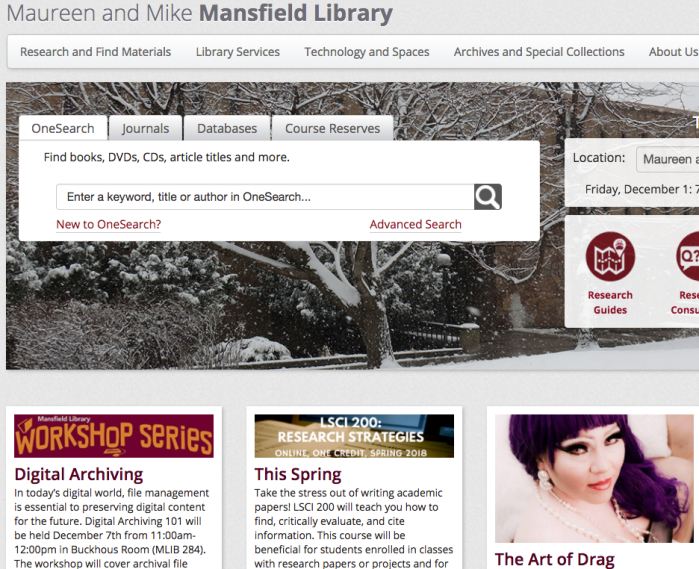 screenshot of the Mansfield Library home page at the University of Montana.