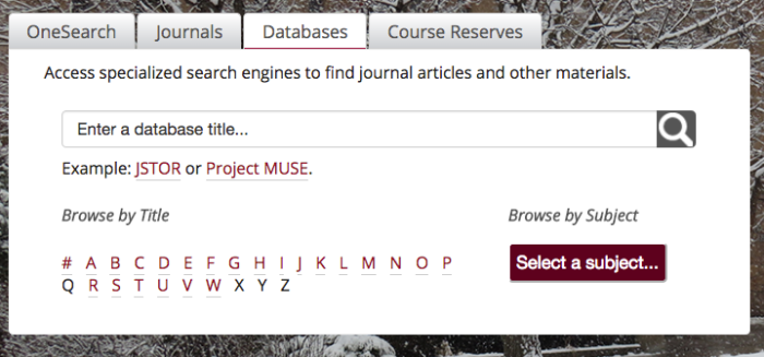 screenshot of database tab on the Mansfield Library's website
