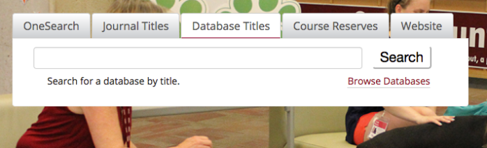 screenshot of database tab on Mansfield Library from June 2017